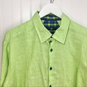 Stone Rose Red Rivet Collection Lime Linen Shirt
